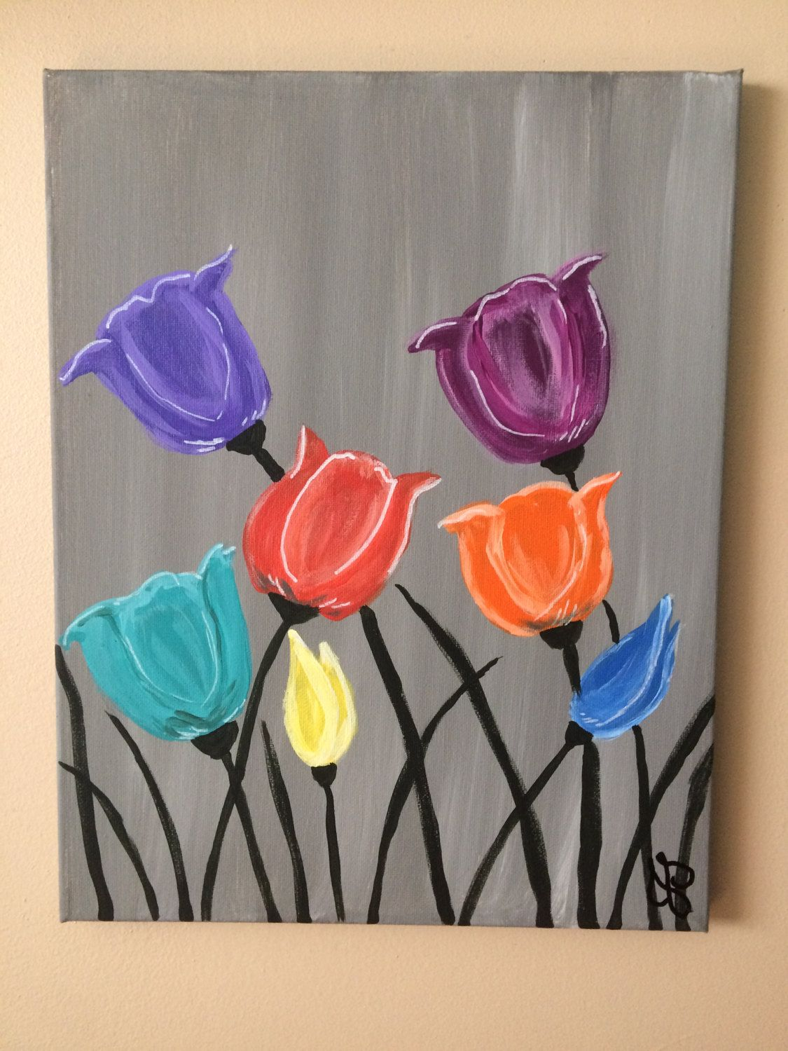 Wild Tulip Flowers Acrylic Painting X Canvas Art Hand Painted Wildflowers Red Orange Yellow Blue Green Purple Petals Gray Background By CanvasCoveArt On