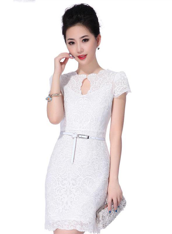 Vestido Ajustado De 4 2017 Corto Moda Vestidos Blanco rnxzR4r