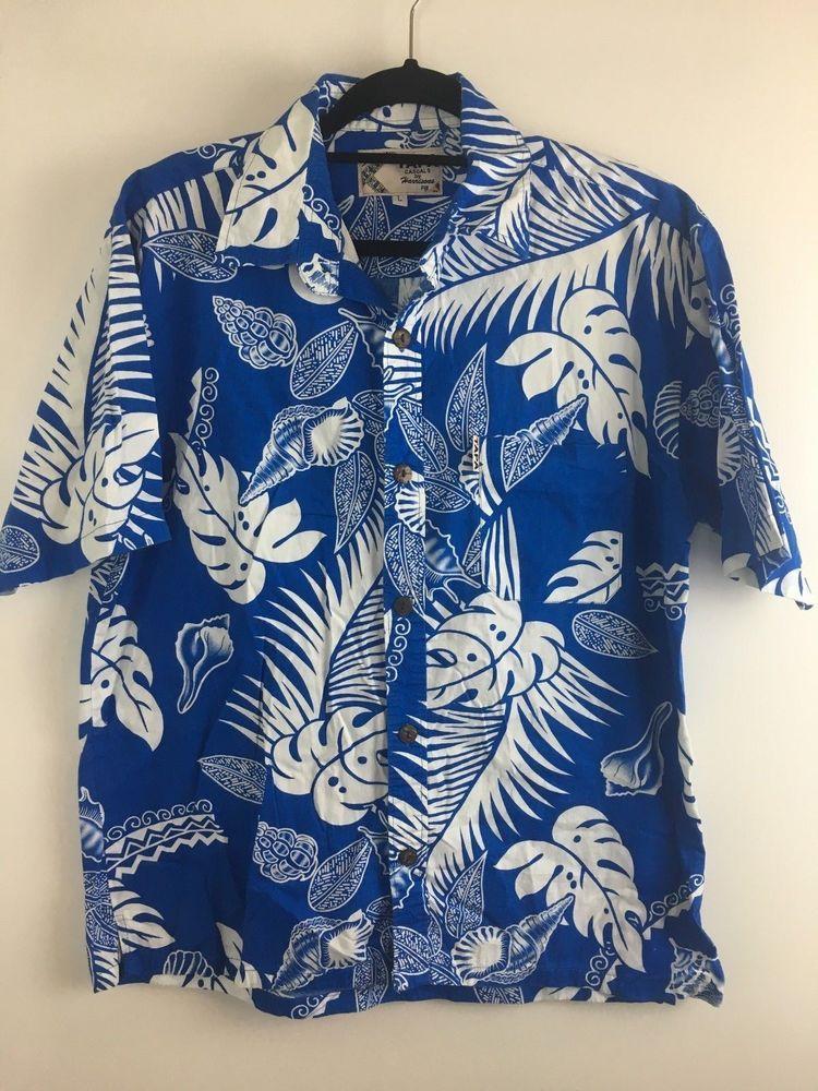eac2b8662f2d0d Harrisons TAPA Fiji Hawaiian Mens Casual Dress Shirt Size L Short Sleeve  Floral