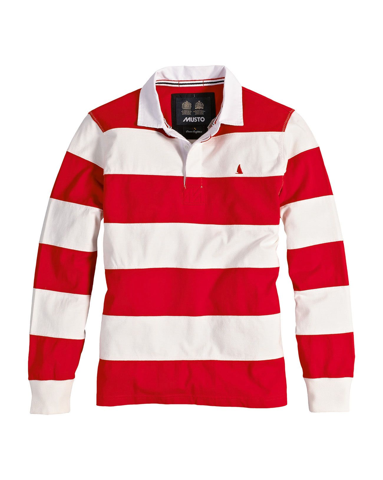 Mens Red And White Striped Rugby Shirt
