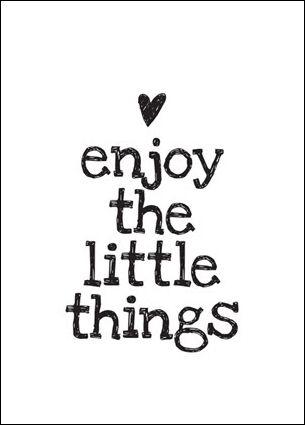 geniet van de kleine dingen in de wereld, deze zijn meestal veel beter dan 1 groot ding