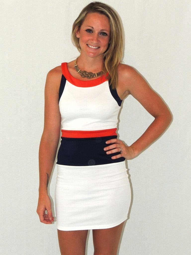 orange navy and white nautical Colorblock Dress $45.00