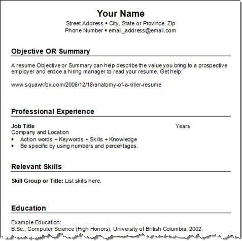 professional resume formats free download - Google Search resume - Job Resume Format Download