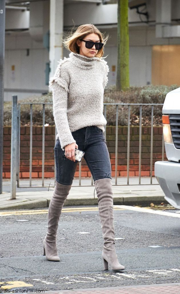 Gigi Hadid wearing sexy grey suede over-the-knee boots at Heathrow Airport in London (December 2015). #gigihadid