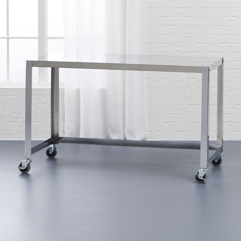 go-cart stainless rolling desk | rolling desk, office furniture