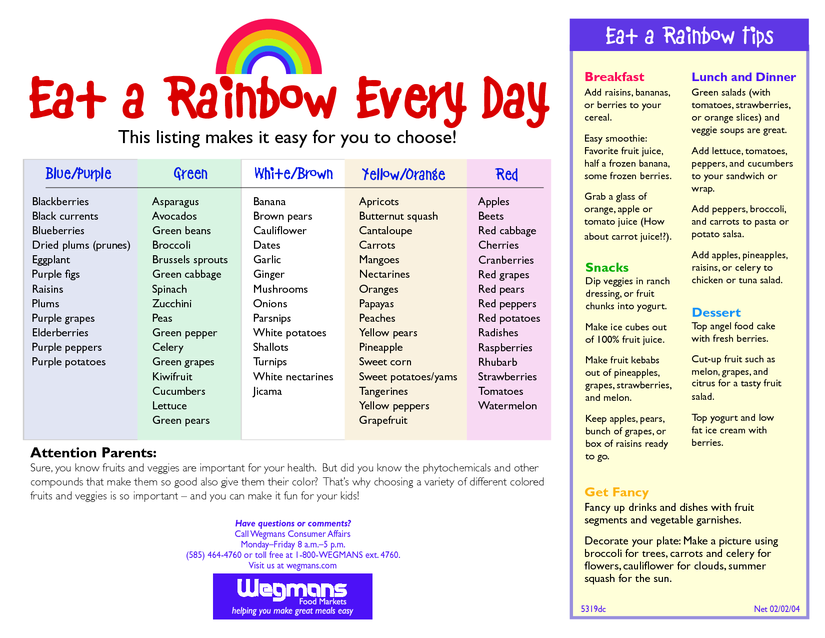 This is a photo of Critical Printable Rainbow Food Chart