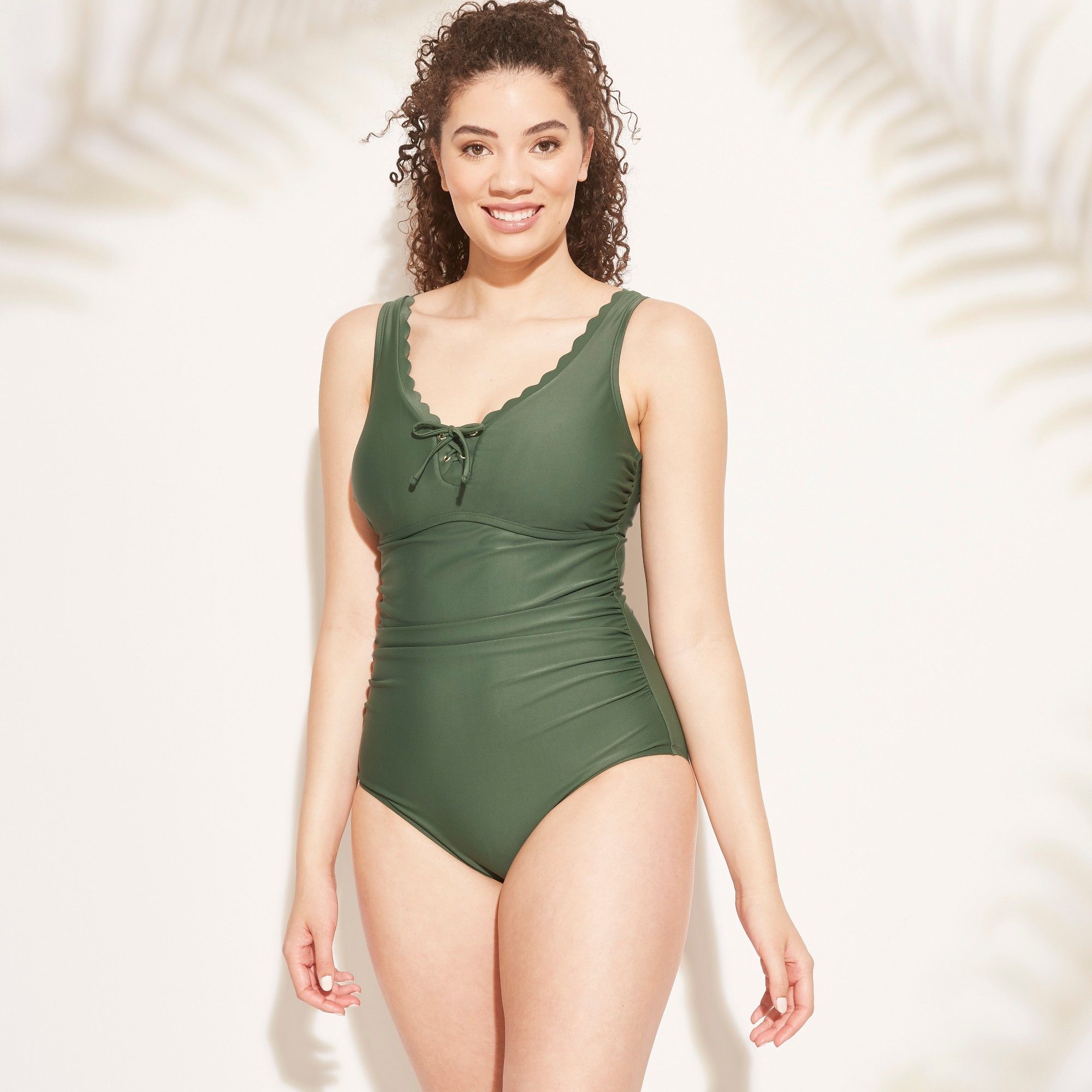 bfd6000902a Women s Lace-Up Scallop One Piece Swimsuit - Kona Sol Dark Green XL ...