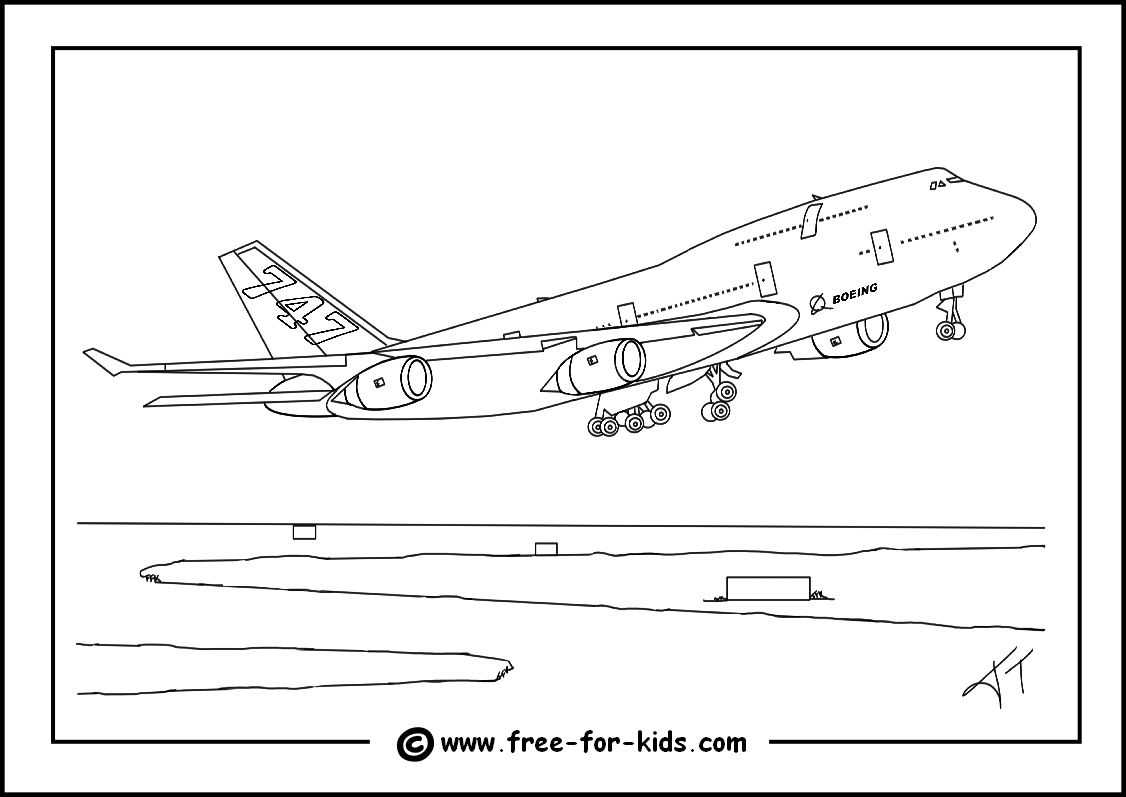 Boeing 747 Colouring Page Thumbnail Image