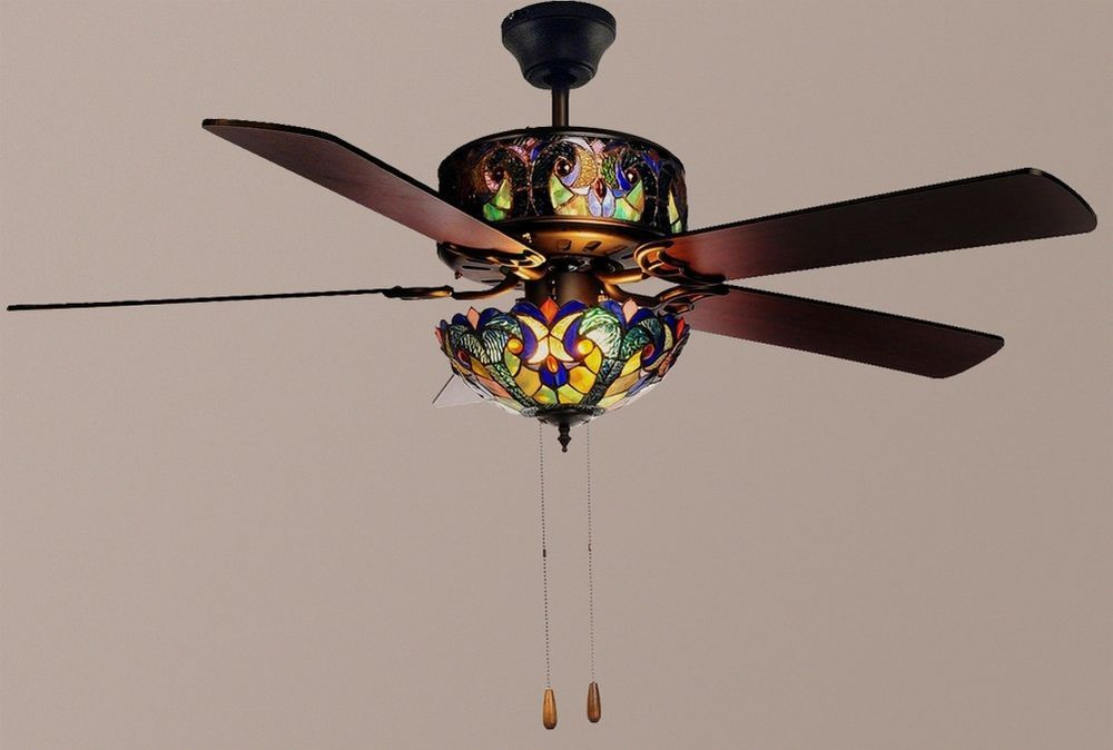 Tiffany style 52 halston double lit stained glass ceiling fan blue new aloadofball Image collections