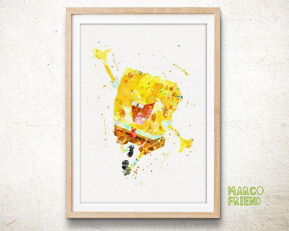 SpongeBob SquarePants Watercolor Art Print Poster by MarcoFriend