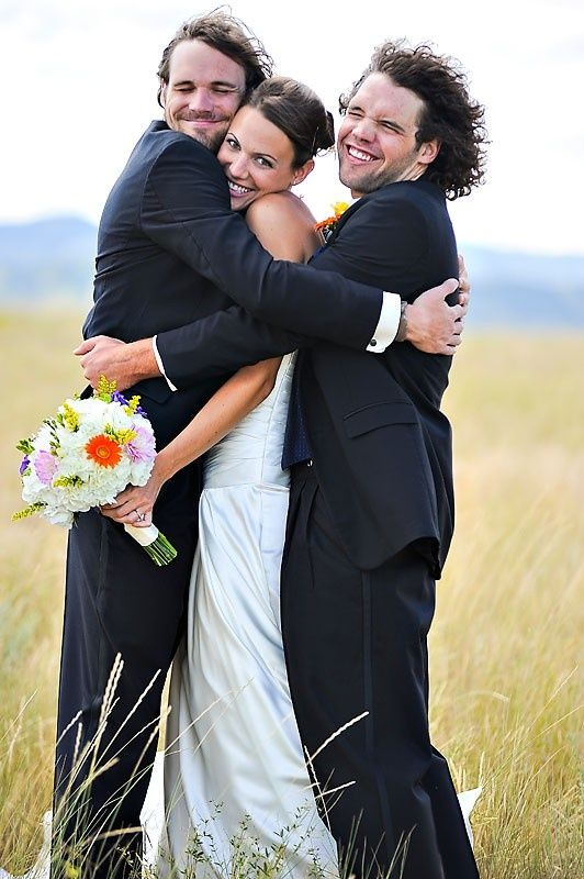 bride, groom, and best man. SO cute. Id also want to do the opposite and have the groom in the middle with the bride and maid of honor on either side