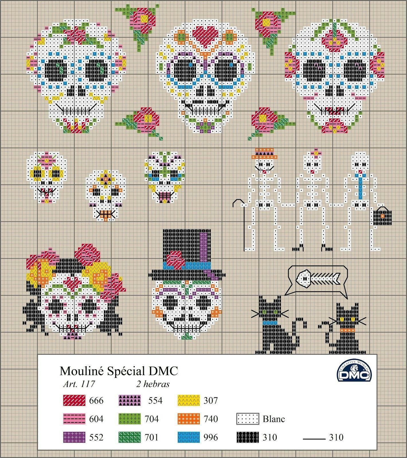 Punto cruz #dia de los muertos #México #embroidery | Manualidades ...