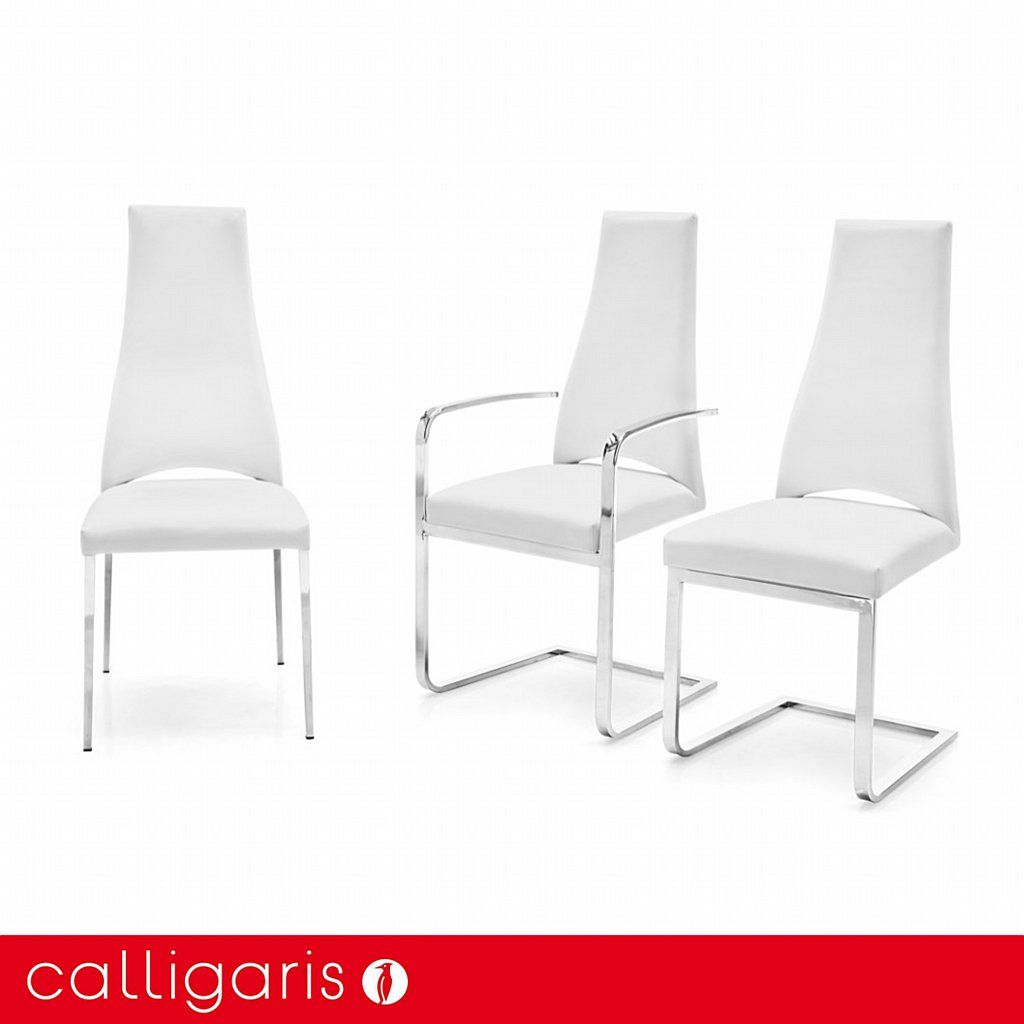 Calligaris Juliet Leather Dining Chair   Chrome Legs Amazing Design