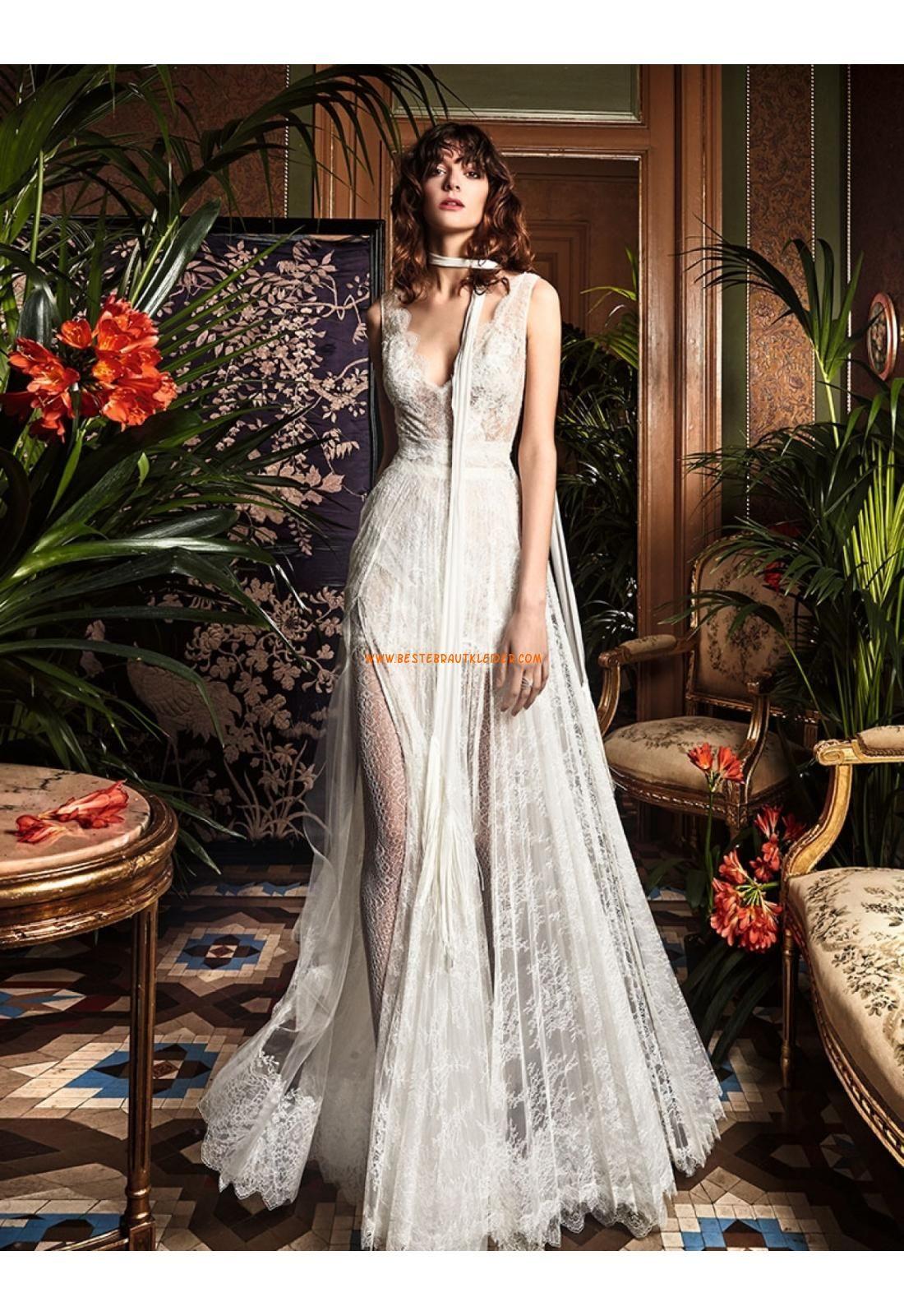 V-ausschnitt Extravagante Modische Brautkleider aus Spitze mit ...