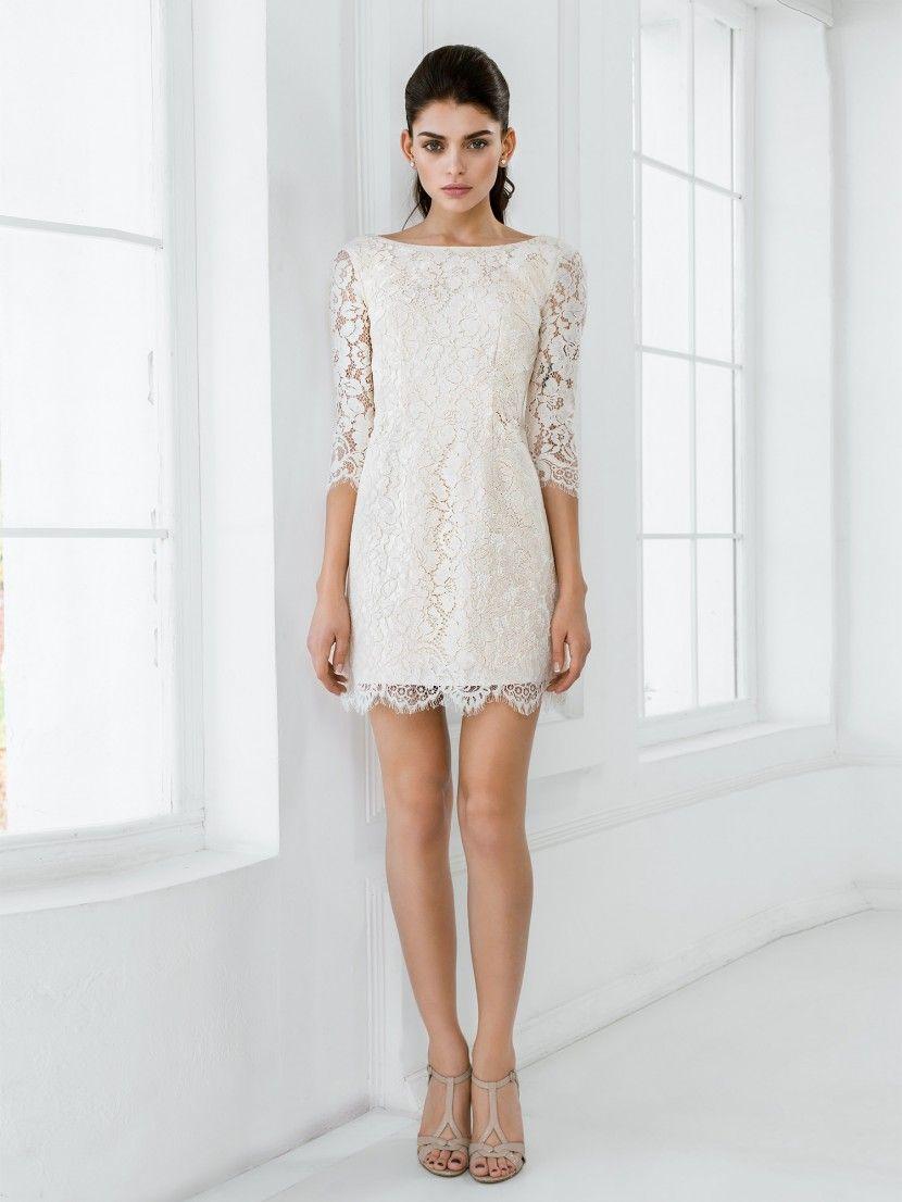 bb5a1363e06 Простое короткое свадебное платье