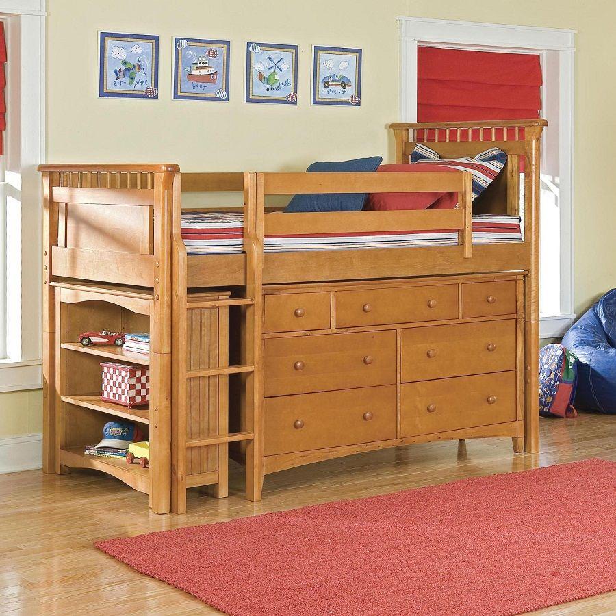 Full Size Low Loft Bed Wood Low loft beds, Bunk bed