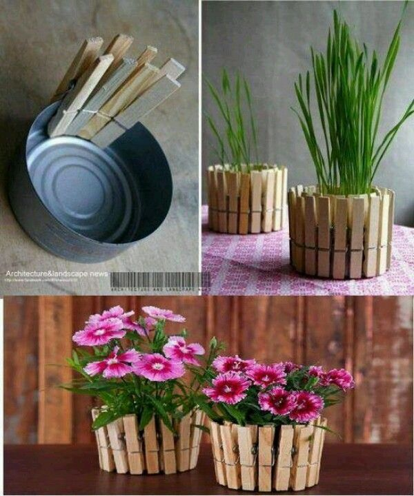 clothes pinned pots for the laundry room