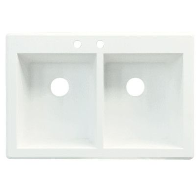 """Transolid Radius 33"""" x 22"""" Double Basin Drop-in Kitchen Sink Finish: Espresso, Faucet Drillings: 2 hole"""