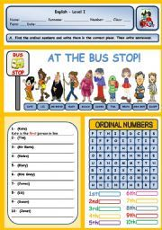 English worksheet: AT THE BUS STOP!  (ORDINAL NUMBERS)