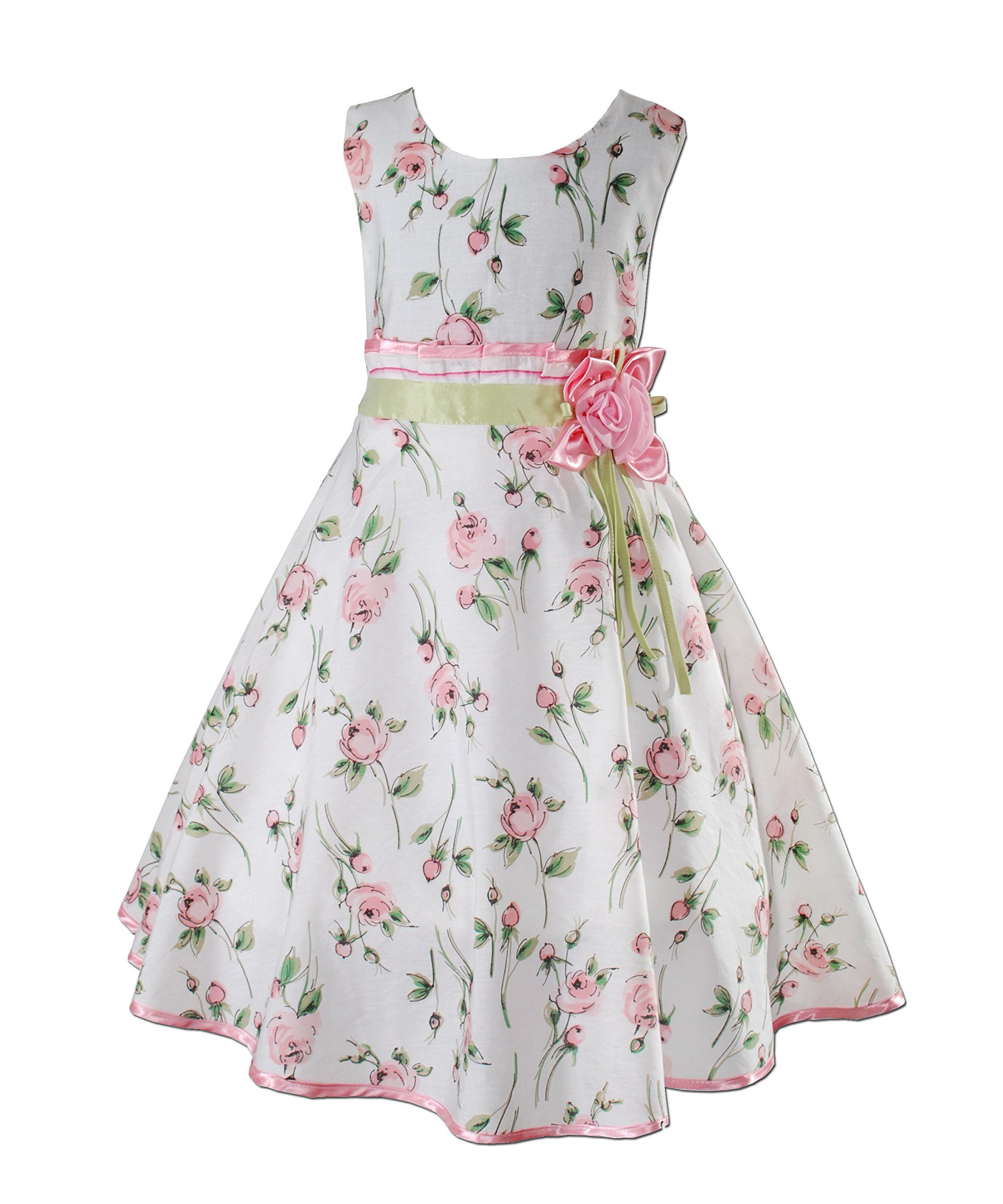 Cinda Girls White Pink and Red Flower Party Dress 4 5 6 7 8 Years