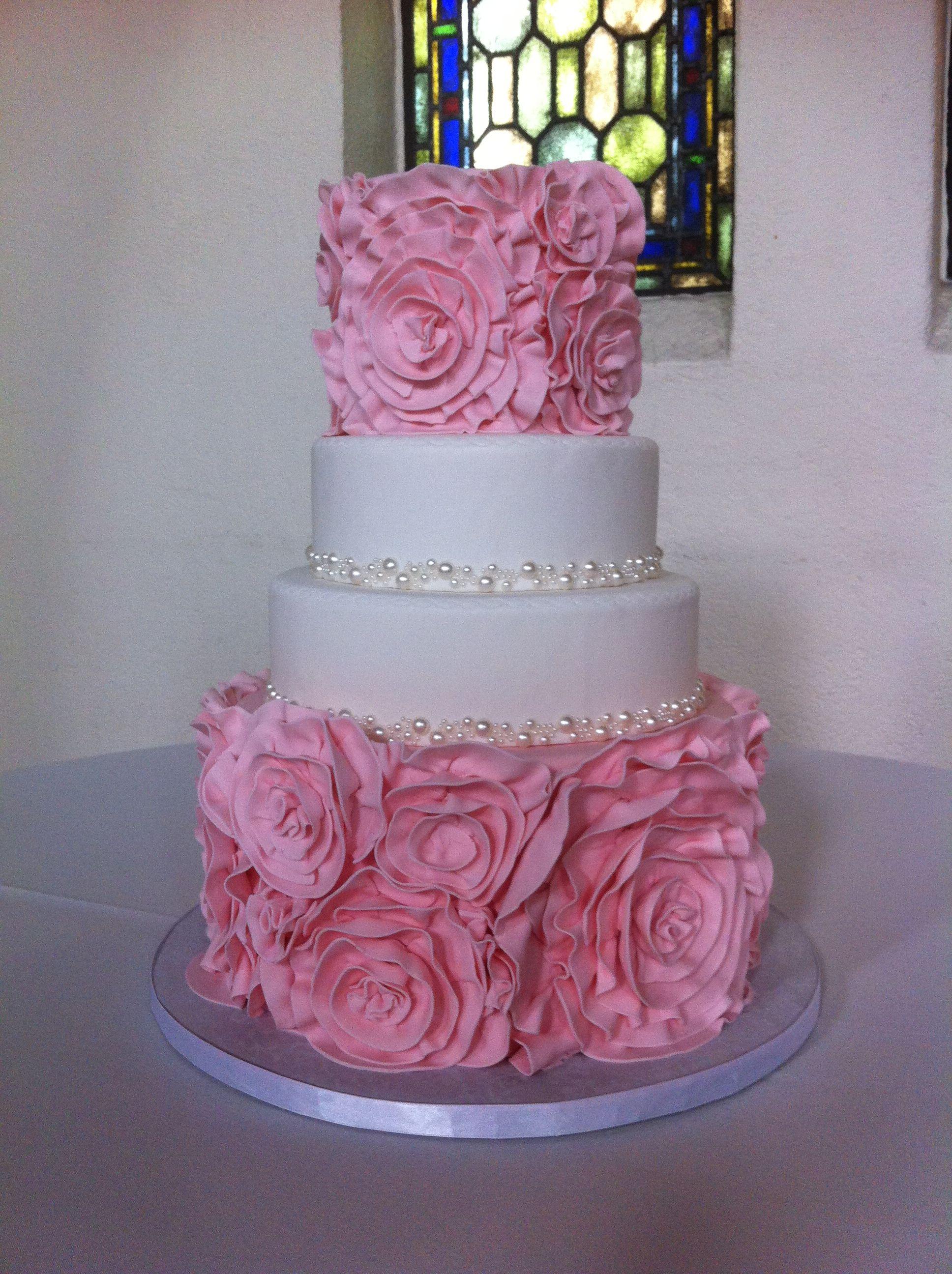 Pink Ruffle Rosette Wedding Cake