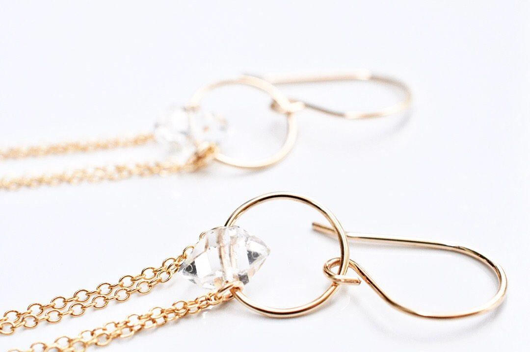 NEW! Herkimer Diamond Cascade Earrings Long Gold Earrings Chain ...