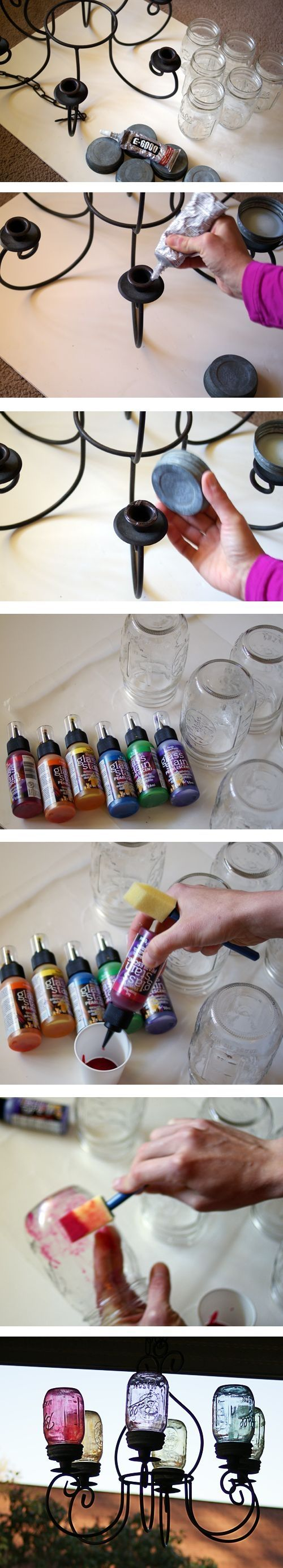 DIY Mason Jar Chandelier. Put batterie operated candles inside jar lids and use as outdoor/ garden decor!