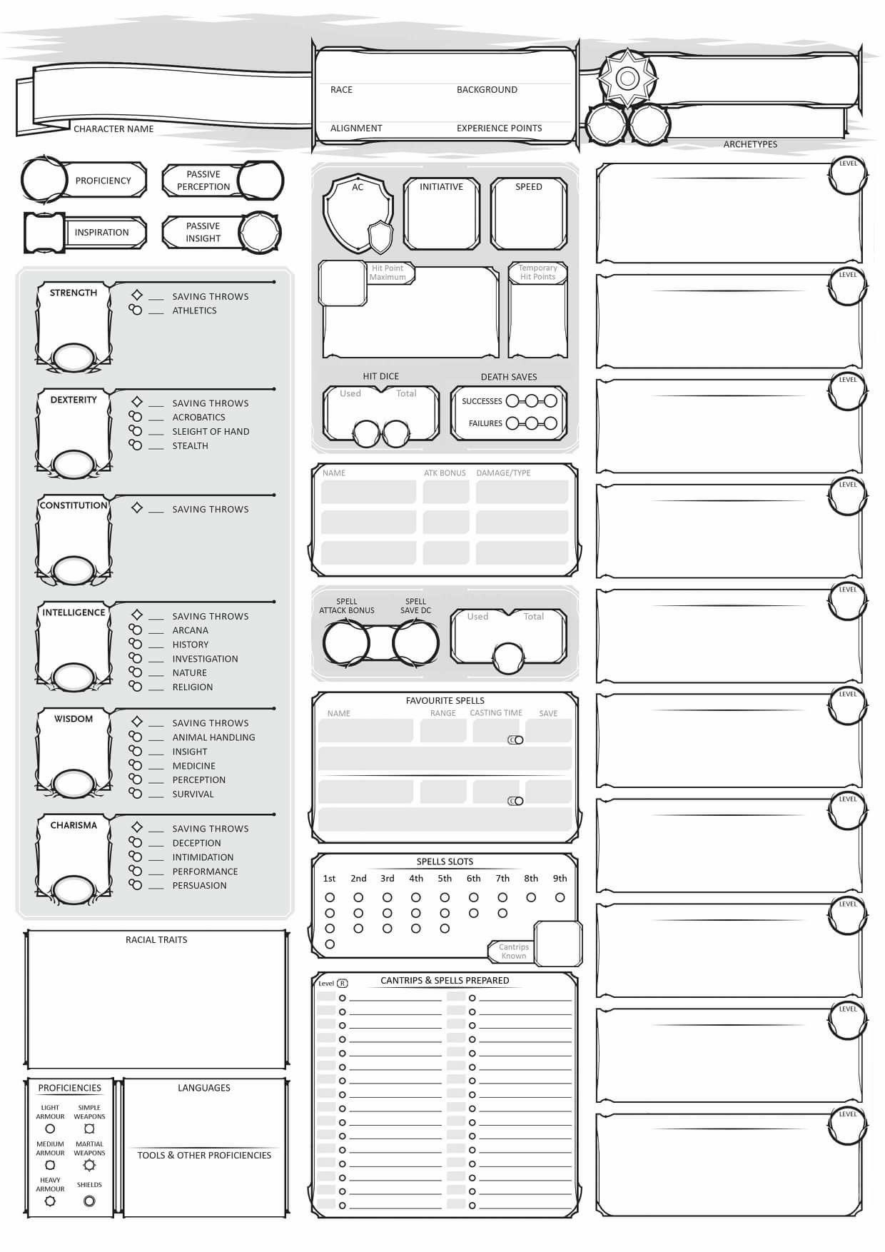 Character Sheet Dnd Jeux