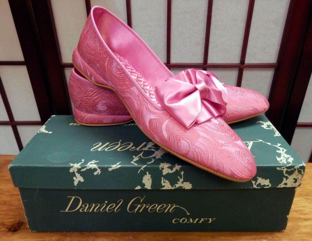 Vtg New in Box Daniel Green Pink Brocade Slippers House Shoes 8AA #DanielGreen #Slippers