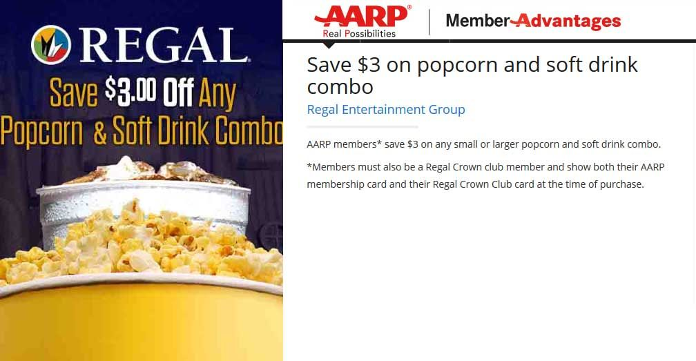 Pinned January 28th AARP enjoy 3 off popcorn & drink at