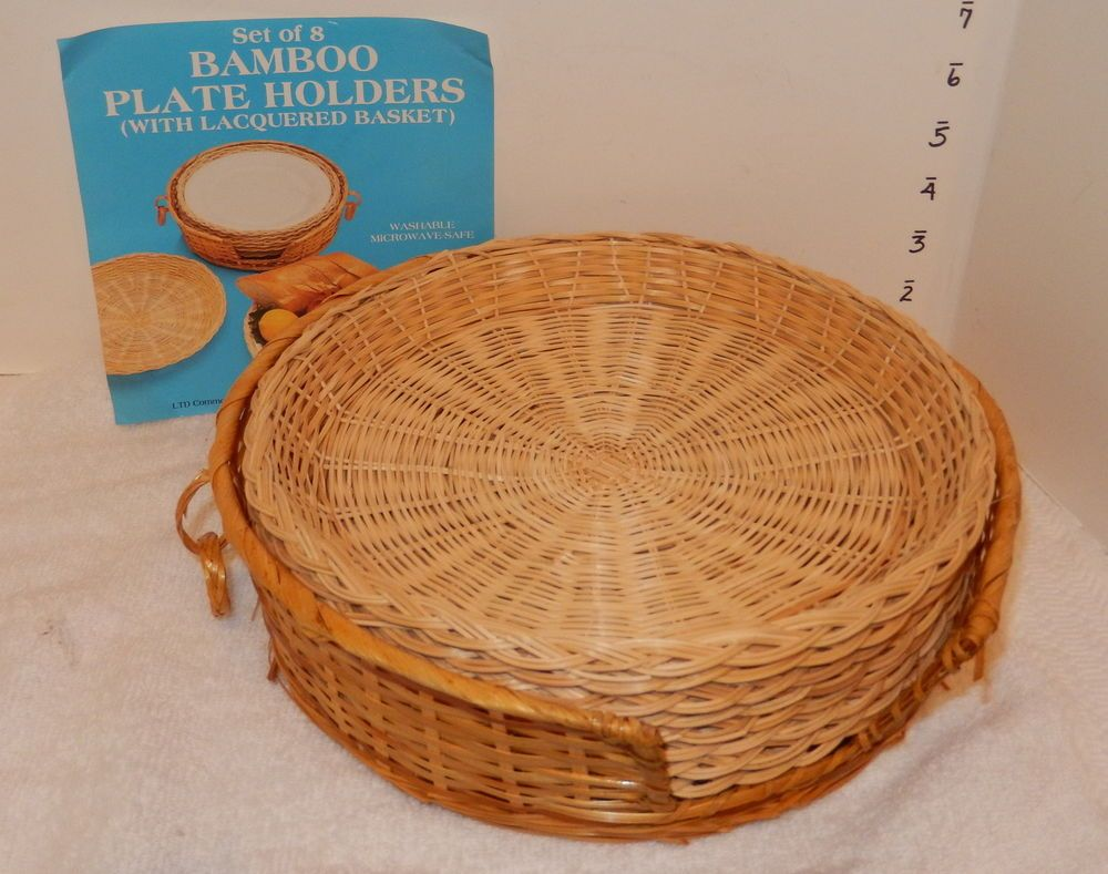 8 WICKER BAMBOO RATTAN PAPER PLATE HOLDERS Picnic C& w/holder MINT & 8 WICKER BAMBOO RATTAN PAPER PLATE HOLDERS Picnic Camp w/holder MINT ...