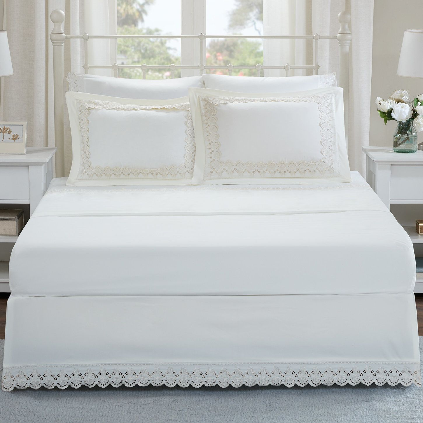 jorie floral eyelet embroidered shams and bed skirt set products