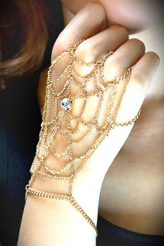 Amazon.com: Designer Inspired Gold Gem Paved Web Hand Bracelet: Jewelry