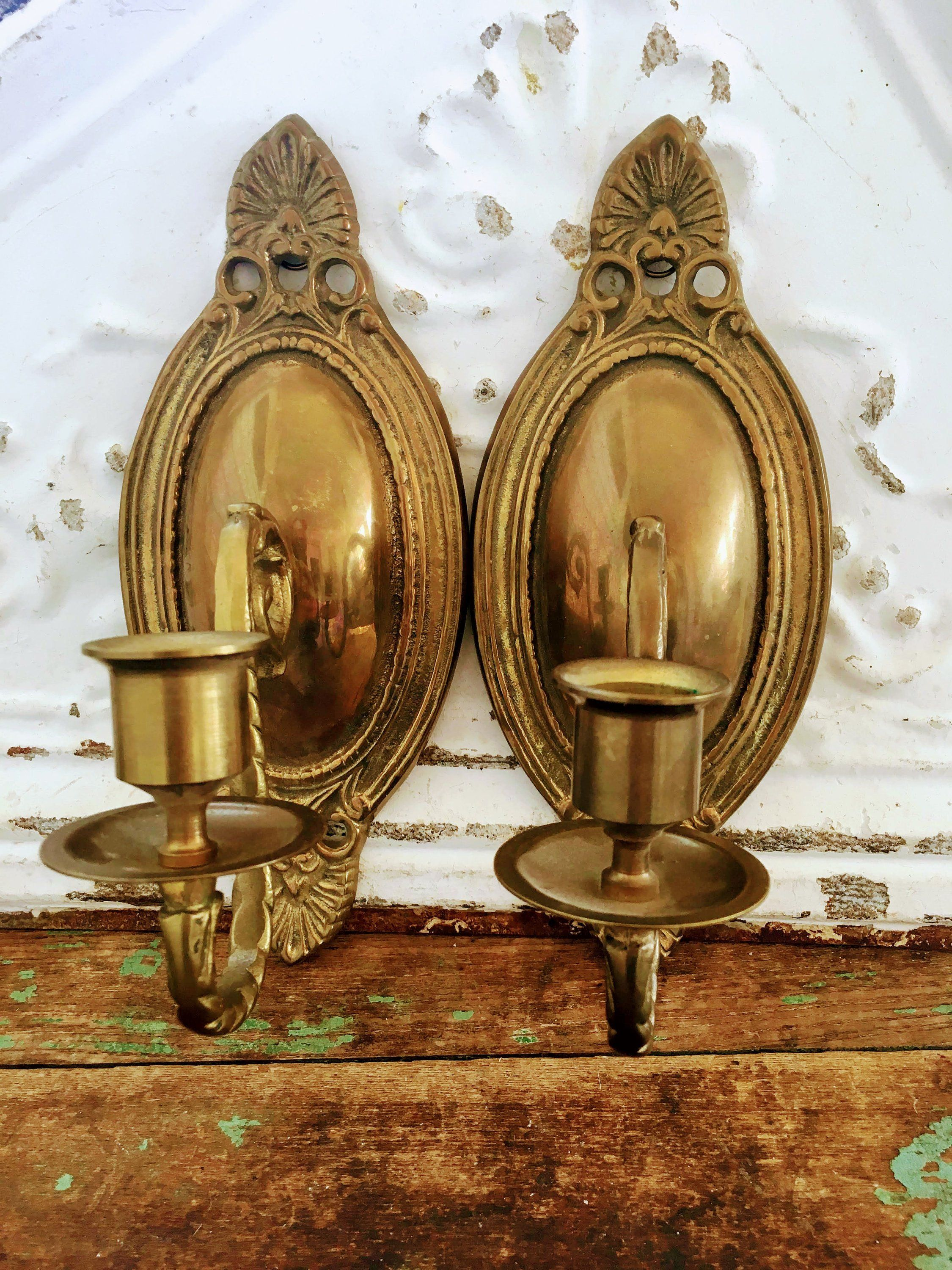 Antique 2 Art Deco Brass Candle Holder wall Sconces Clam ... on Vintage Wall Sconce Candle Holder Decorating Ideas id=63672