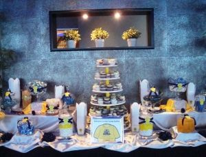 Blue & Yellow Corporate Event Candy Table