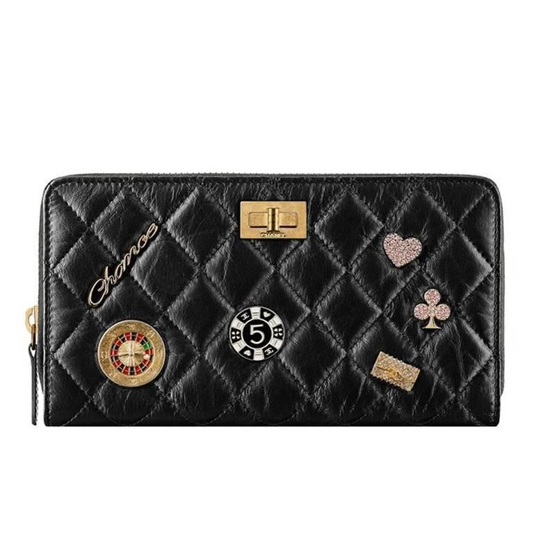 7d831f65a91b Chanel 2016 Black Casino Lucky Charms Distressed Calfskin Reissue Wallet  Purse