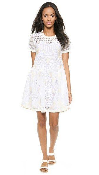 Sea Popover Lace Dress in White