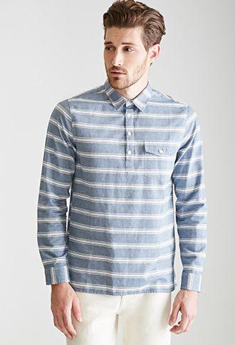 Striped Popover Shirt 21 Men 2000129989 Long Sleeve Tshirt