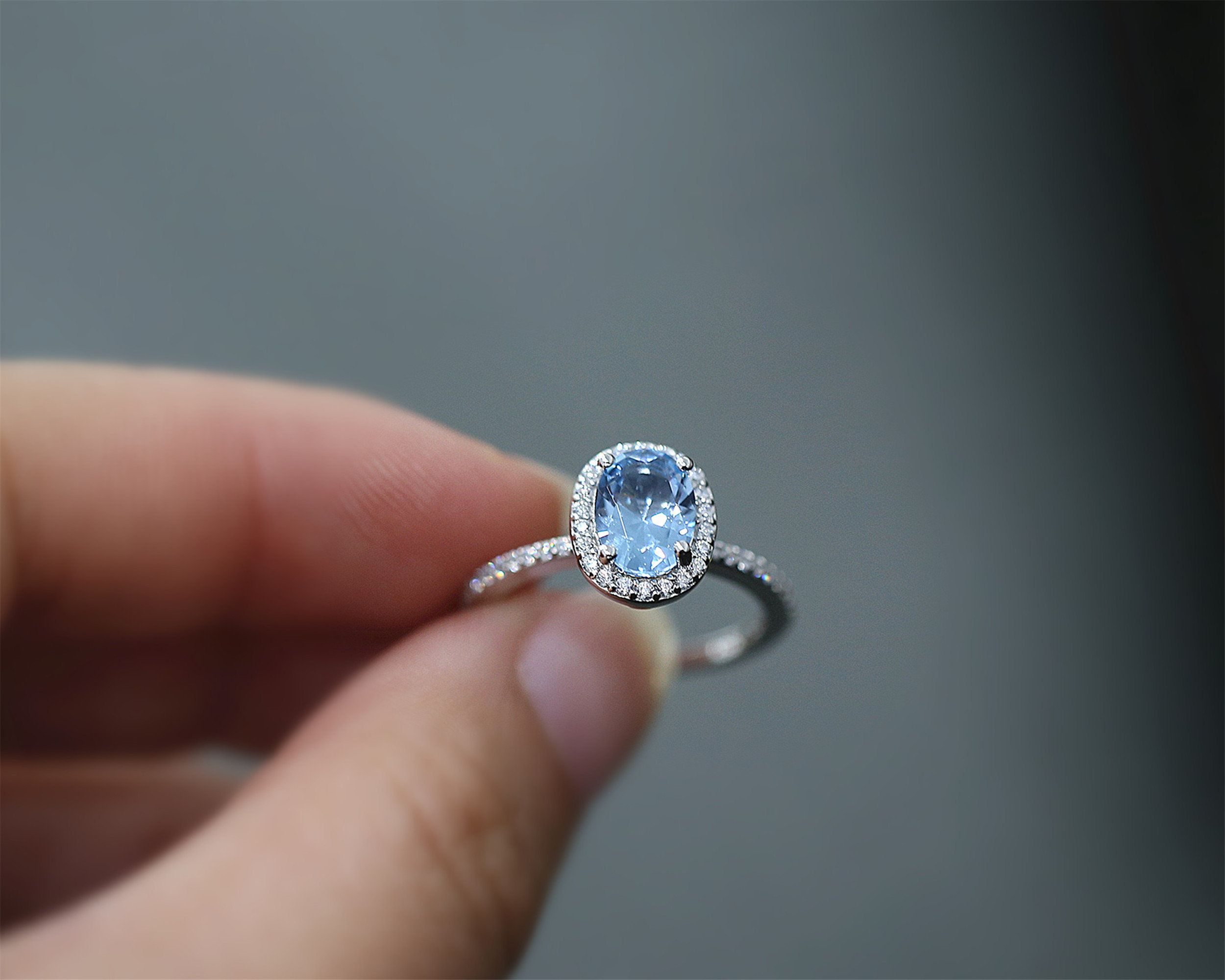 6*8mm Oval Cut Nano Morganite Ring Engagement Ring Sterling Silver Ring Gemstone Ring Bridal Ring