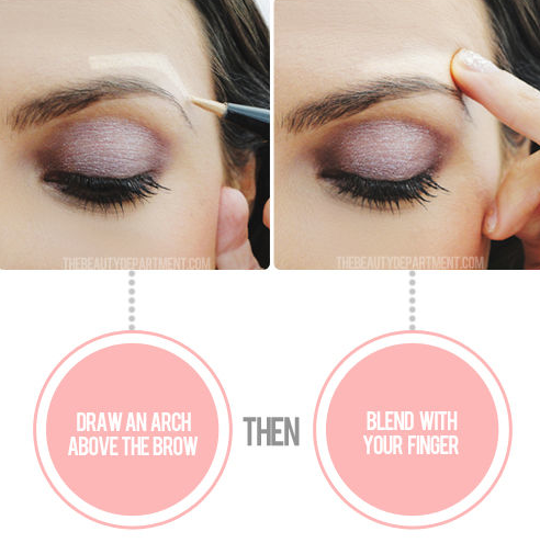 Eye lift.  This quick and easy illusion will give you an instant eye life. Draw an arch directly above your eyebrow with your favorite highlighter, and blend with your finger. This makes your arch look raised, making the whole eye area look like it's been lifted.