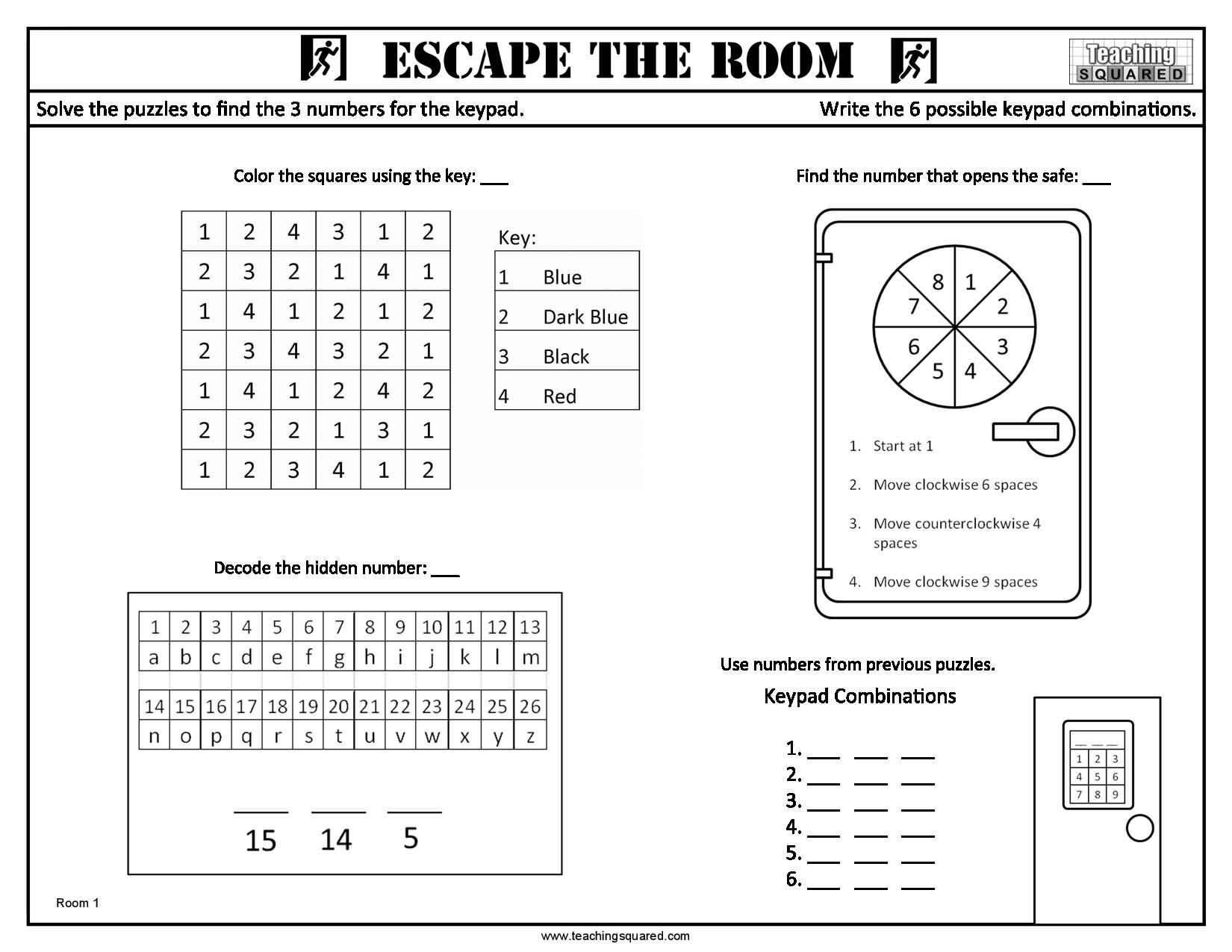 Escape The Room Worksheets In With Images
