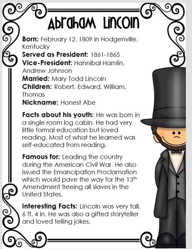 Abe Lincoln Facts School Io Presidents Day Presidents