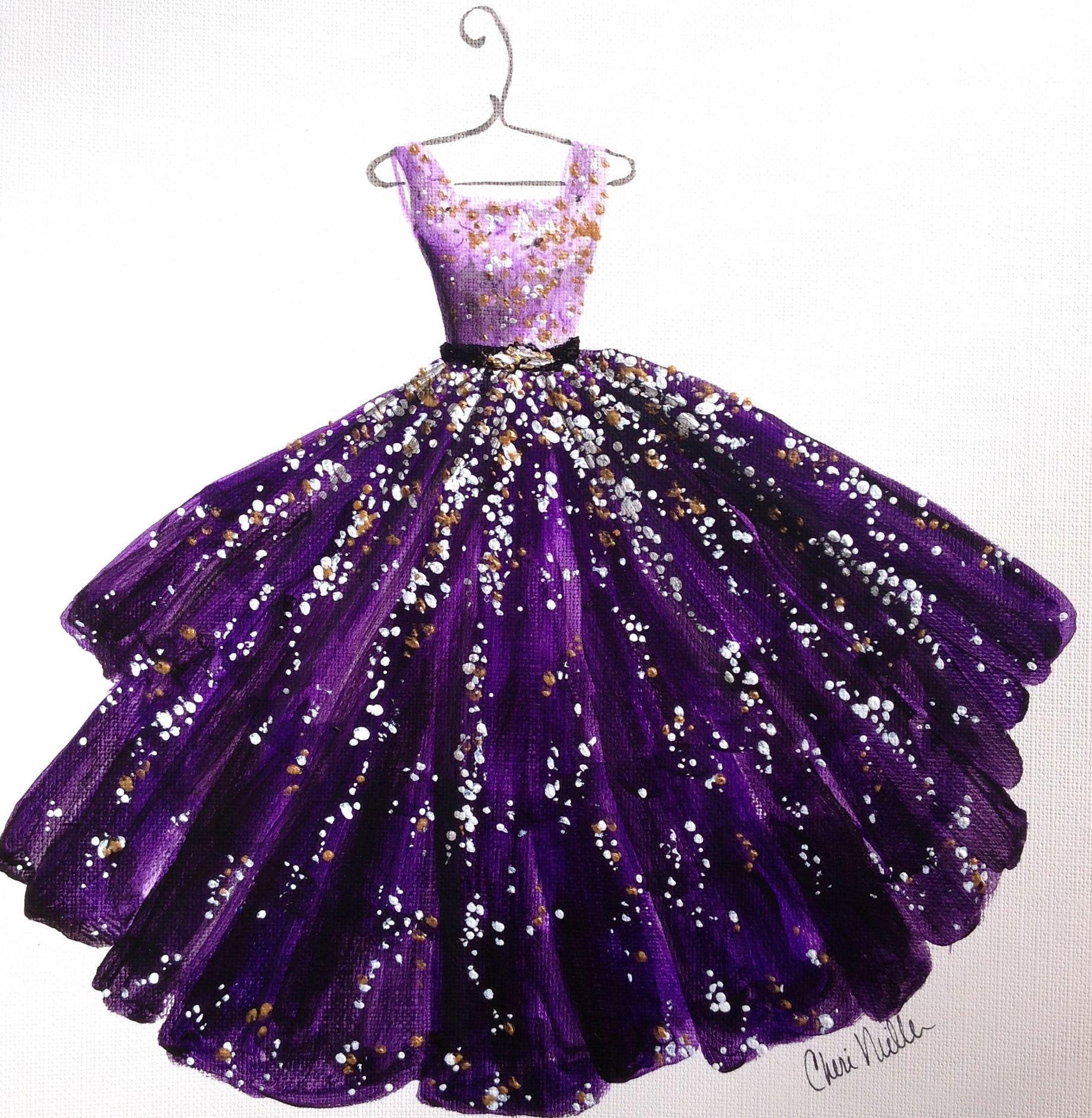 "Wedding Gown Illustrations: Fashion Illustration ""Purple Passion"" Fashion Sketch"