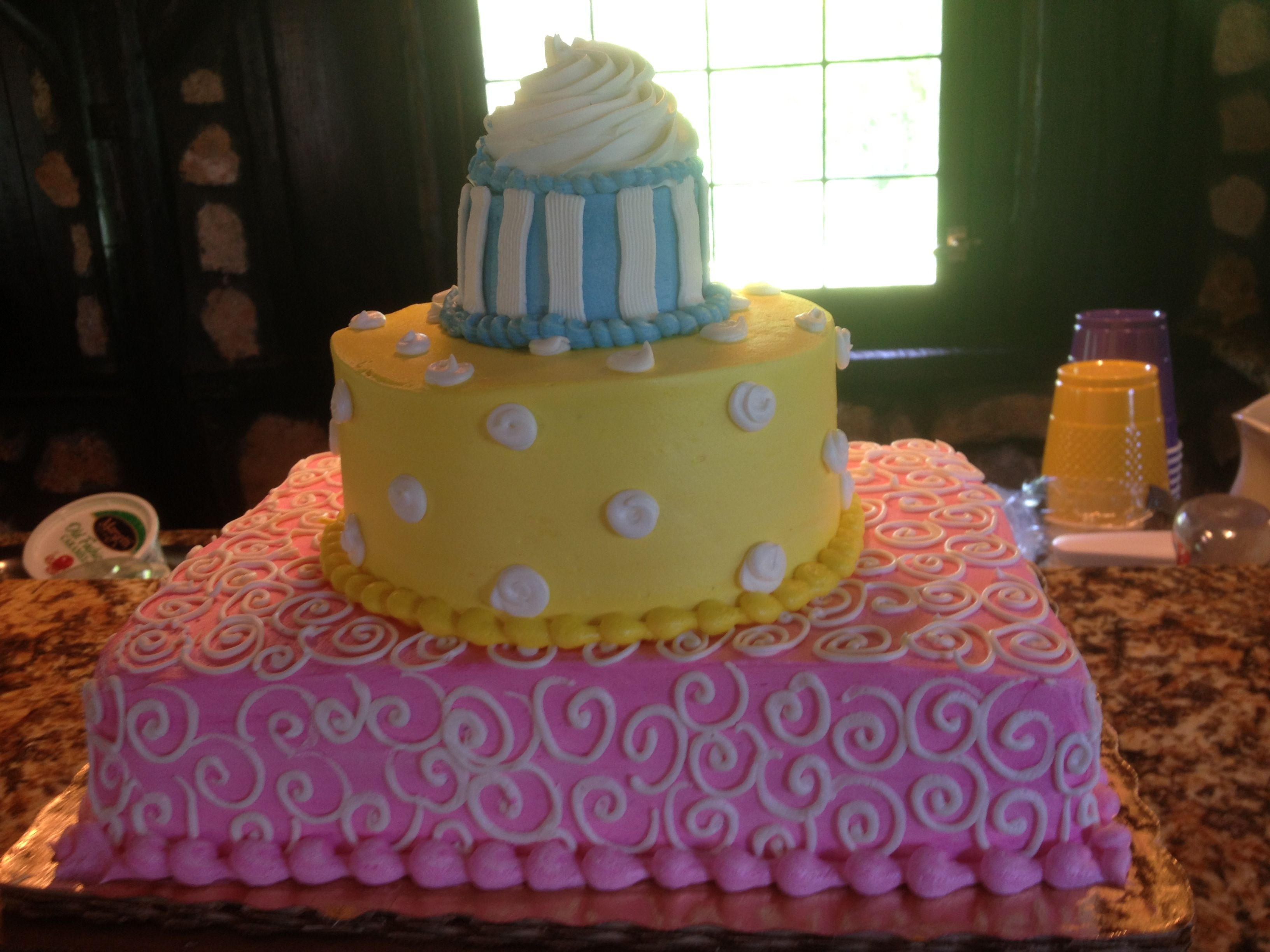 Birthday Cake ! A Publix Wedding Cake Made Smaller :P With A Cupcake On Top