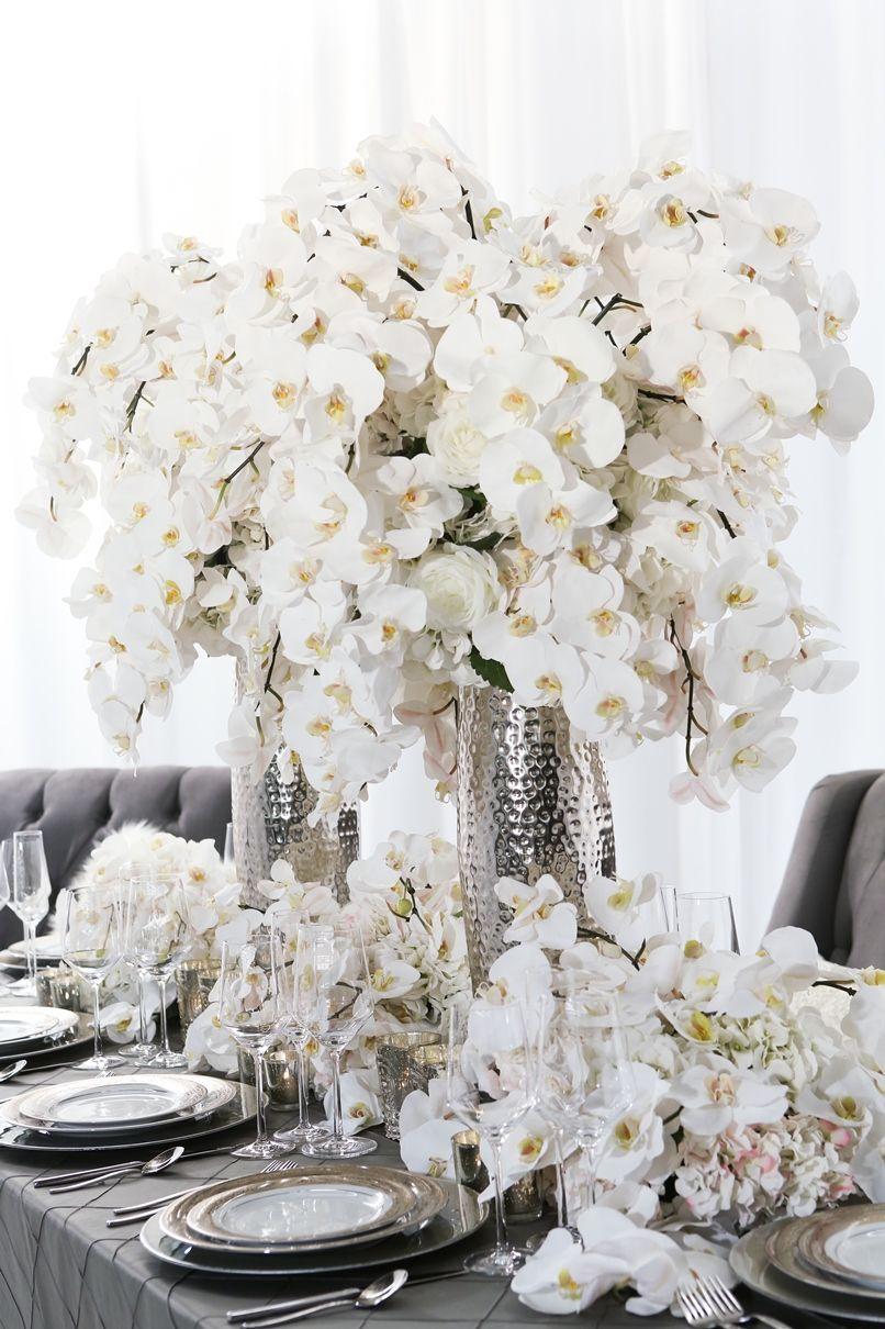 25th wedding decoration ideas  Tablescape Floral Centerpiece Ideas ucuc  white party