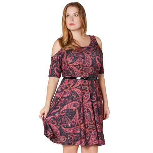 Plus Size Hatty Paisely Cut Out Skater Dress