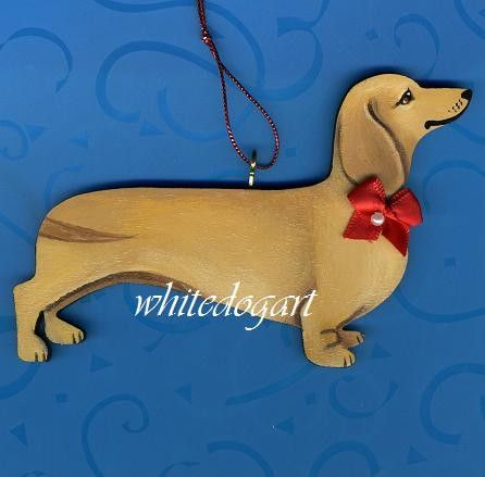 Handpainted Blonde Cream Dachshund Christmas By Whitedogart