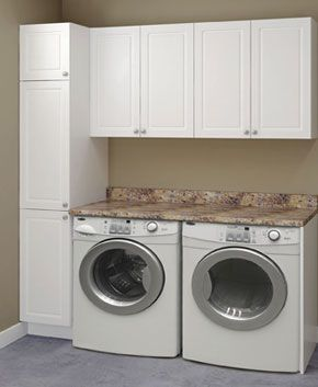 Add Cabinets Over Washer And Dryer. Install Counter Top Over Washer And  Dryer.