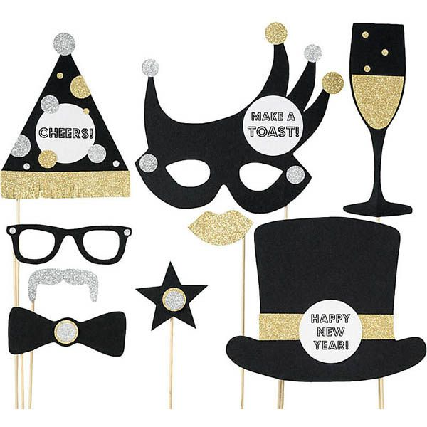 Strike a festive pose with our New Years themed photo props! Kit