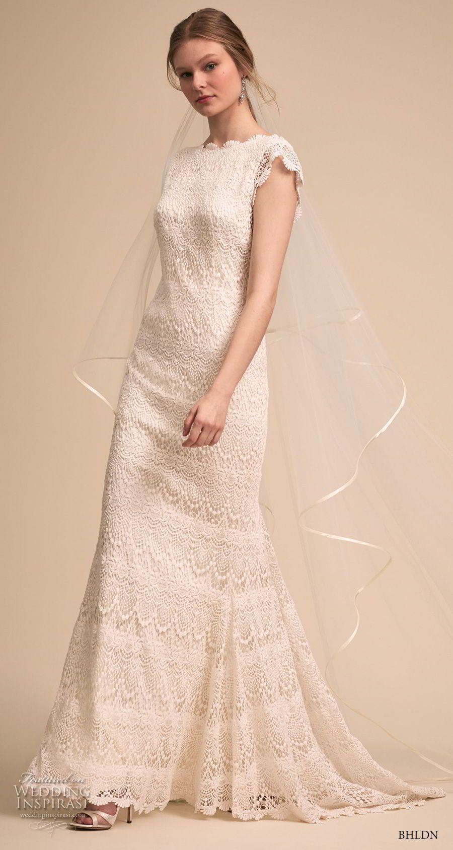 Bhldn bridal cap sleeves bateau neckline full embellishment